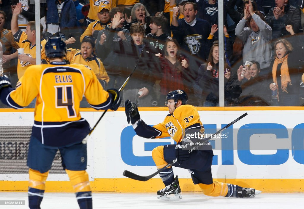 Colin Wilson #33 of the Nashville Predators celebrates his goal against the St. Louis Blues during an NHL game at the Bridgestone Arena on January 21, 2013 in Nashville, Tennessee.
