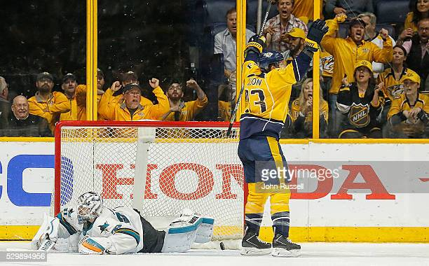 Colin Wilson of the Nashville Predators celebrates his goal against Martin Jones of the San Jose Sharks in Game Six of the Western Conference Second...