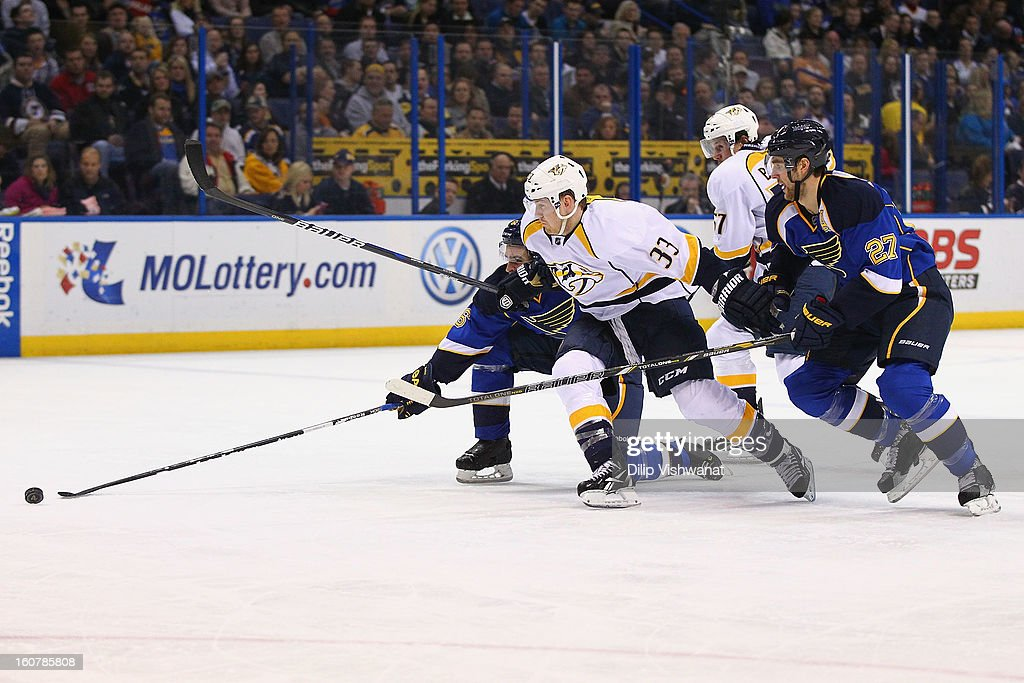 Colin Wilson #33 of the Nashville Predators pursues the puck against <a gi-track='captionPersonalityLinkClicked' href=/galleries/search?phrase=Wade+Redden&family=editorial&specificpeople=201471 ng-click='$event.stopPropagation()'>Wade Redden</a> #6 and <a gi-track='captionPersonalityLinkClicked' href=/galleries/search?phrase=Alex+Pietrangelo&family=editorial&specificpeople=4072229 ng-click='$event.stopPropagation()'>Alex Pietrangelo</a> #27 both of the St. Louis Blues at the Scottrade Center on February 5, 2013 in St. Louis, Missouri.
