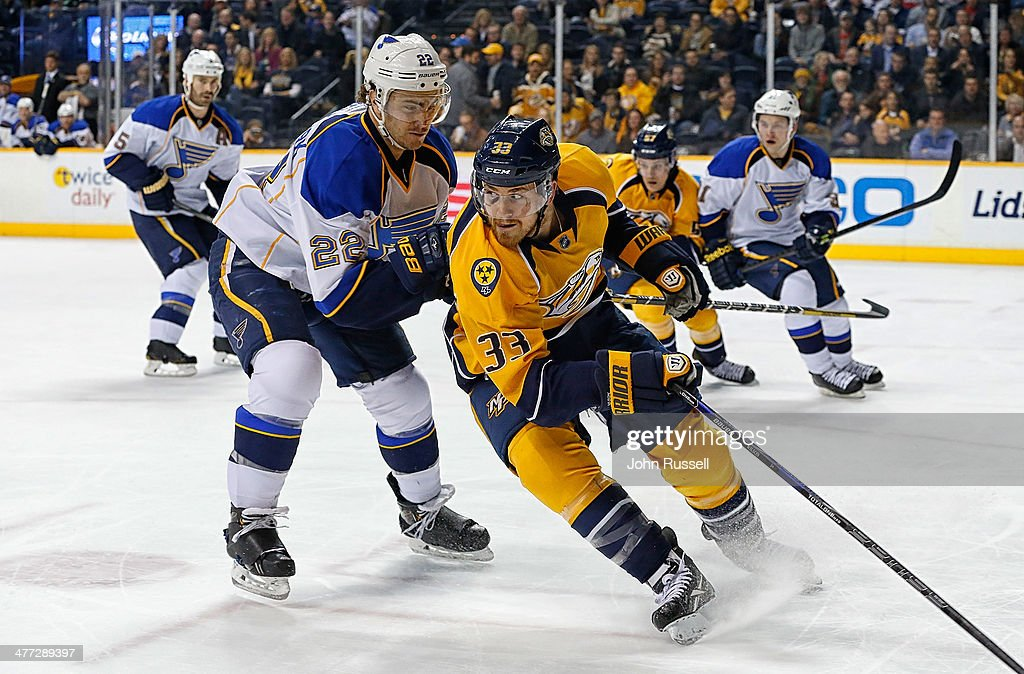 Colin Wilson #33 of the Nashville Predators skates against <a gi-track='captionPersonalityLinkClicked' href=/galleries/search?phrase=Kevin+Shattenkirk&family=editorial&specificpeople=4324986 ng-click='$event.stopPropagation()'>Kevin Shattenkirk</a> #22 of the St. Louis Blues at Bridgestone Arena on March 6, 2014 in Nashville, Tennessee.