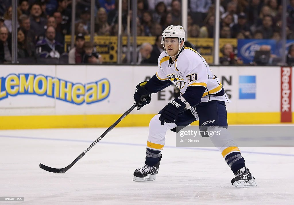Colin Wilson #33 of the Nashville Predators skates against the Los Angeles Kings at Staples Center on January 31, 2013 in Los Angeles, California.