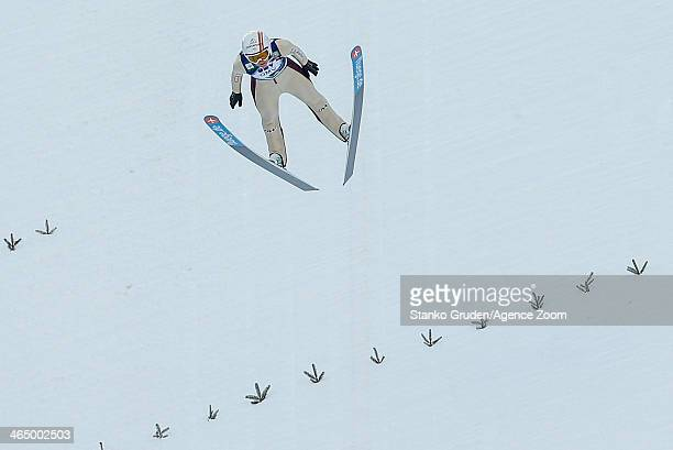 Coline Mattel of France competes during the FIS Ski Jumping World Cup Women's HS95 on January 25 2014 in Planica Slovenia