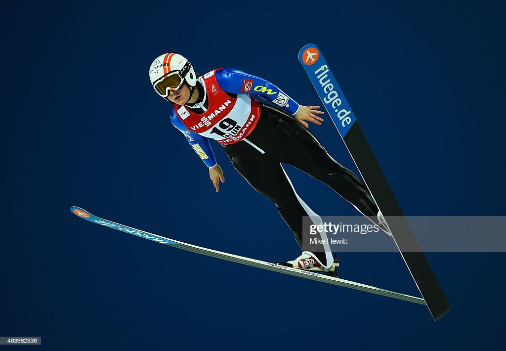 <a gi-track='captionPersonalityLinkClicked' href=/galleries/search?phrase=Coline+Mattel&family=editorial&specificpeople=5719079 ng-click='$event.stopPropagation()'>Coline Mattel</a> of France competes during the Women's HS100 Normal Hill Ski Jumping during the FIS Nordic World Ski Championships at the Lugnet venue on February 20, 2015 in Falun, Sweden.