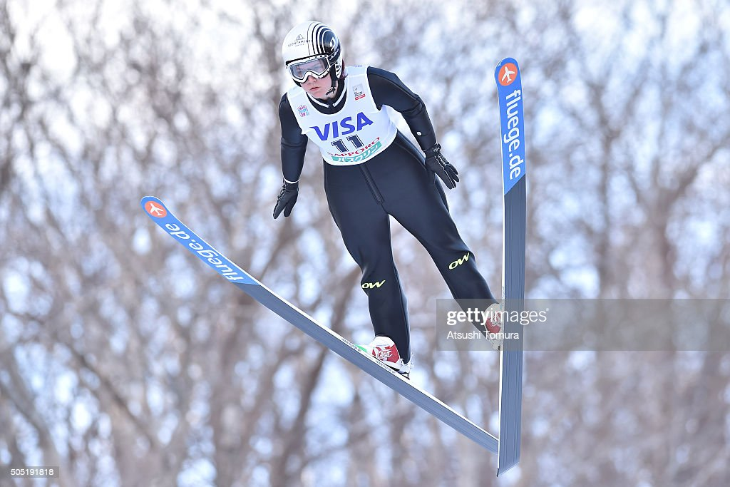 <a gi-track='captionPersonalityLinkClicked' href=/galleries/search?phrase=Coline+Mattel&family=editorial&specificpeople=5719079 ng-click='$event.stopPropagation()'>Coline Mattel</a> of France competes in the 1st round normal hill Individual during the FIS Ski Jumping World Cup Ladies Sapporo on January 16, 2016 in Sapporo, Japan.