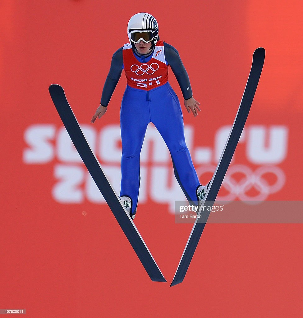 <a gi-track='captionPersonalityLinkClicked' href=/galleries/search?phrase=Coline+Mattel&family=editorial&specificpeople=5719079 ng-click='$event.stopPropagation()'>Coline Mattel</a> of France jumps during the Ladies' Normal Hill Individual Ski Jumping training on day 1 of the Sochi 2014 Winter Olympics at the RusSki Gorki Ski Jumping Center on February 8, 2014 in Sochi, Russia.