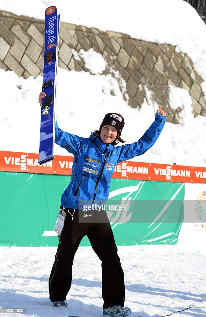 Coline Mattel of France reacts after she won the World Cup women's ski jumping in Sapporo in Japan's northern island of Hokkaido on February 2, 2013. Mattel captured her second win of the season to move up to second in the overall standings at the World Cup ski jumping event. AFP PHOTO / Takashi NOGUCHI