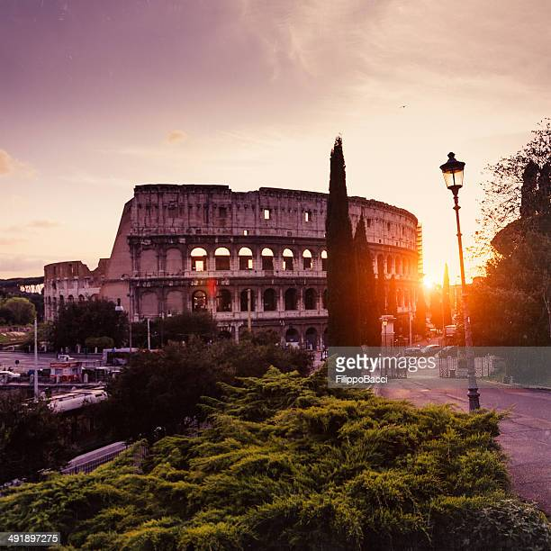 Coliseum at sunset in Rome, Italy