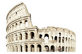Coliseum, Europe, Italy, White Background, Cut Out