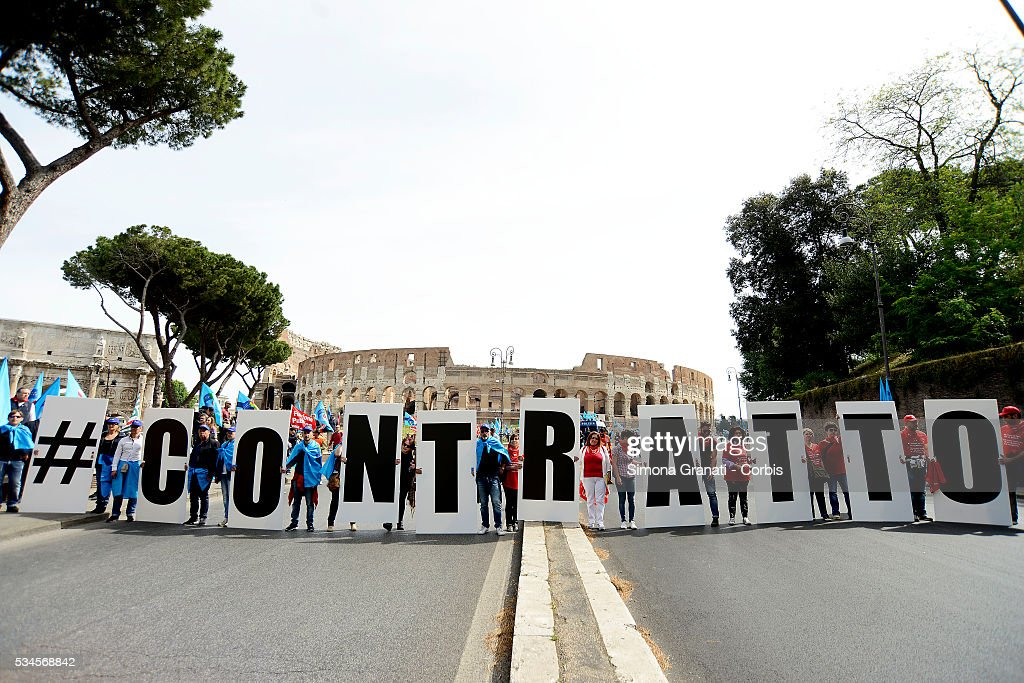 Coliseum Strike and march of the employees of public services for the renewal of the contract organized by the trade unions CGIL, CISL and UIL'on May 25, 2016 in Rome, Italy.