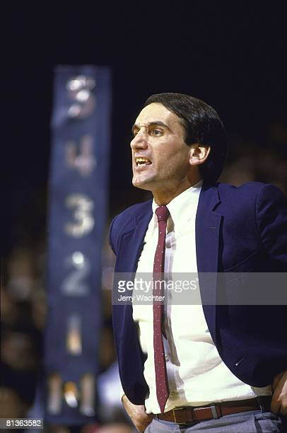 Coll Basketball Closeup of Duke coach Mike Krzyzewski during game vs North Carolina Chapel Hill NC 1/19/1985