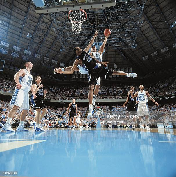 Coll Basketball Duke's Casey Sanders in action vs North Carolina's Julius Peppers Chapel Hill NC 3/4/2001