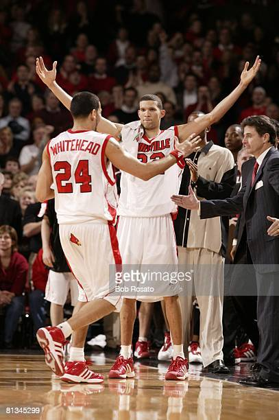 Coll Basketball Louisville's Francisco Garcia and Luke Whitehead victorious during game vs Cincinnati Louisville KY 1/21/2004