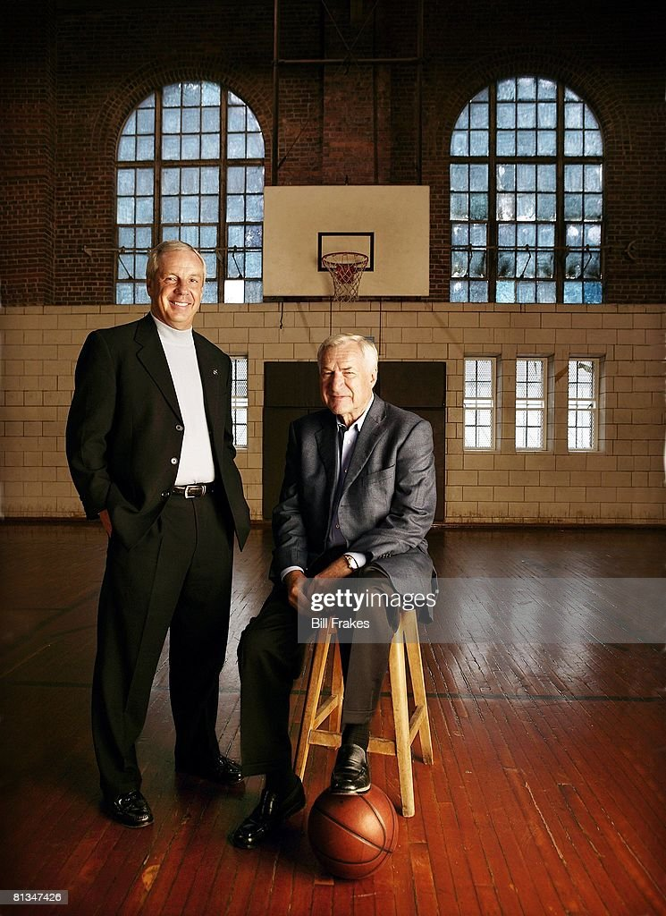 Portrait of North Carolina Coach Roy Williams with former coach Dean Smith at Woolen Gym, Chapel Hill, NC 10/9/2003