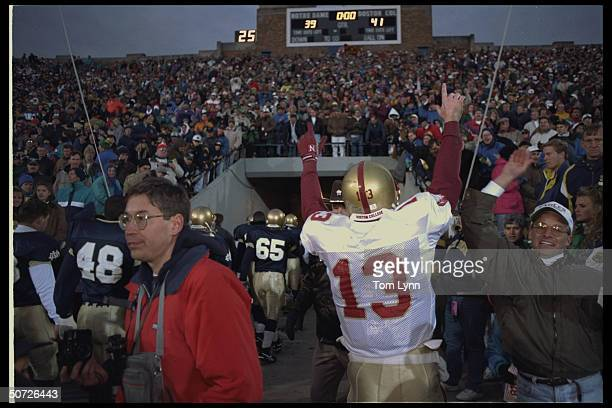 BC's QB Glenn Foley victorious after game vs Notre Dame