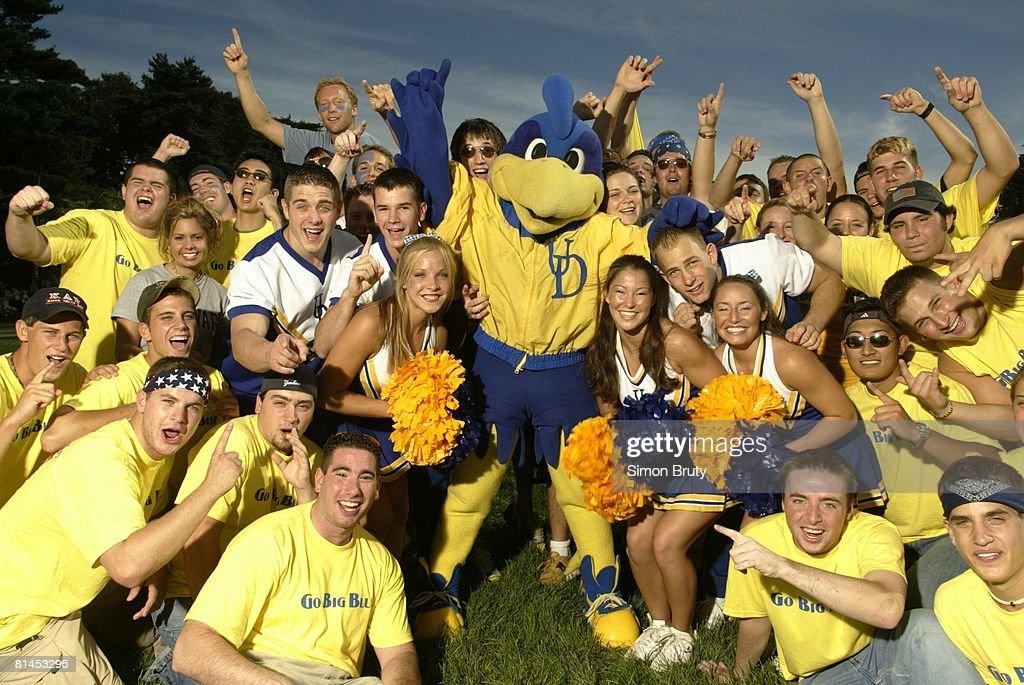 Coll Football Delaware fans with mascot Youdee Newark DE 9/6/2003