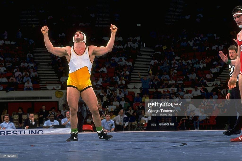 NCAA Championships, Clarion Kurt Angle victorious after match vs North Carolina State Sylvester Terkay, Oklahoma City, OK 3/21/1992