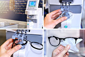 Collage image of the glasses manufacturing process. Health care, medicine and vision concept. Professional ophthalmology instrument in clinic office and optics. Optician measuring and preparing glasse
