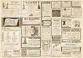 Vintage newspaper texture. A newspaper horizontal  background illustration with advertisements from a vintage old Russian newspaper of 1893. Beige old paper collage background.