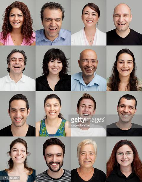 Collage di 16 diversi uomini e donne sorridenti