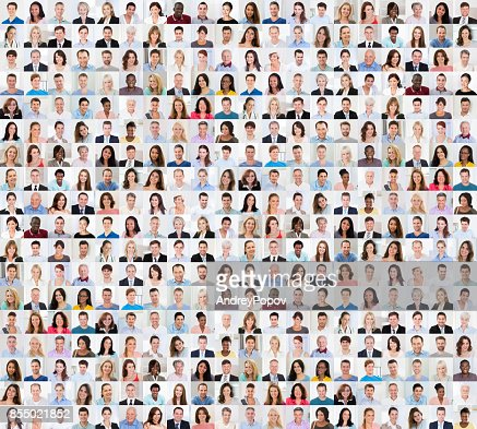 Collage Of A Smiling People : Stock Photo