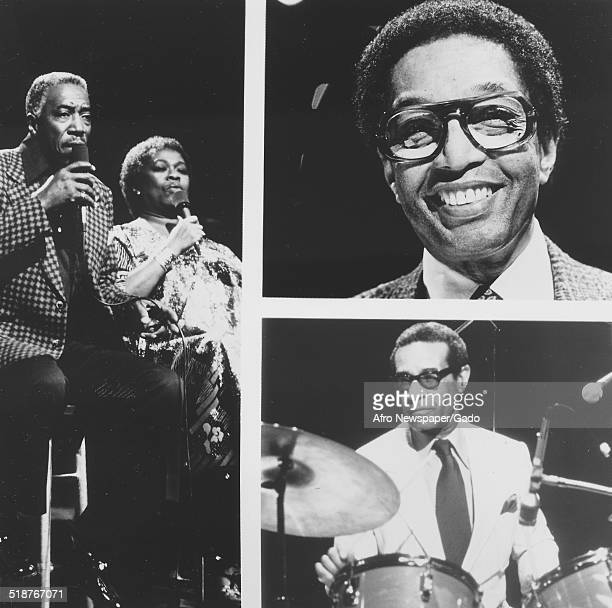 Collage of AfricanAmerican composer pianist bandleader and Jazz musician Duke Ellington Joe Williams singer Sarah Vaughan Billy Taylor and Max Roach...