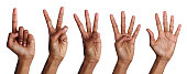 Set of african-american hands counting. Collection of black hands showing one, two, three, four, five on white isolated background