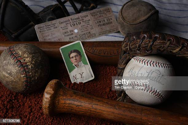 A collage of Antique Vintage Baseball Memorabilia and Collectables including a Babe Ruth signed baseball used baseballs wooden baseball bats catchers...