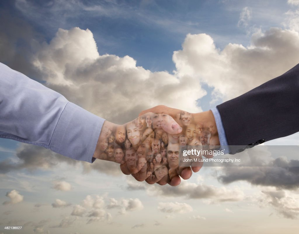 Collage of business people in shaking hands : Stock Photo