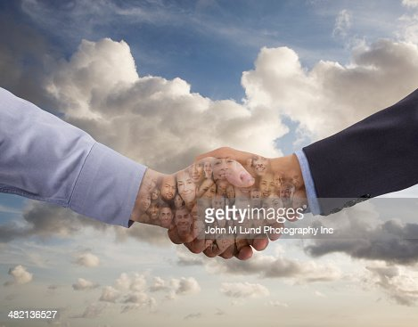Collage of business people in shaking hands