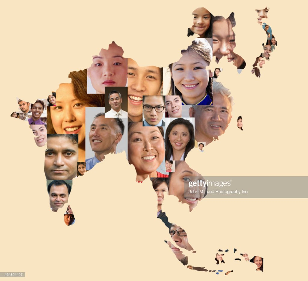Collage of business people in shape of Asia map
