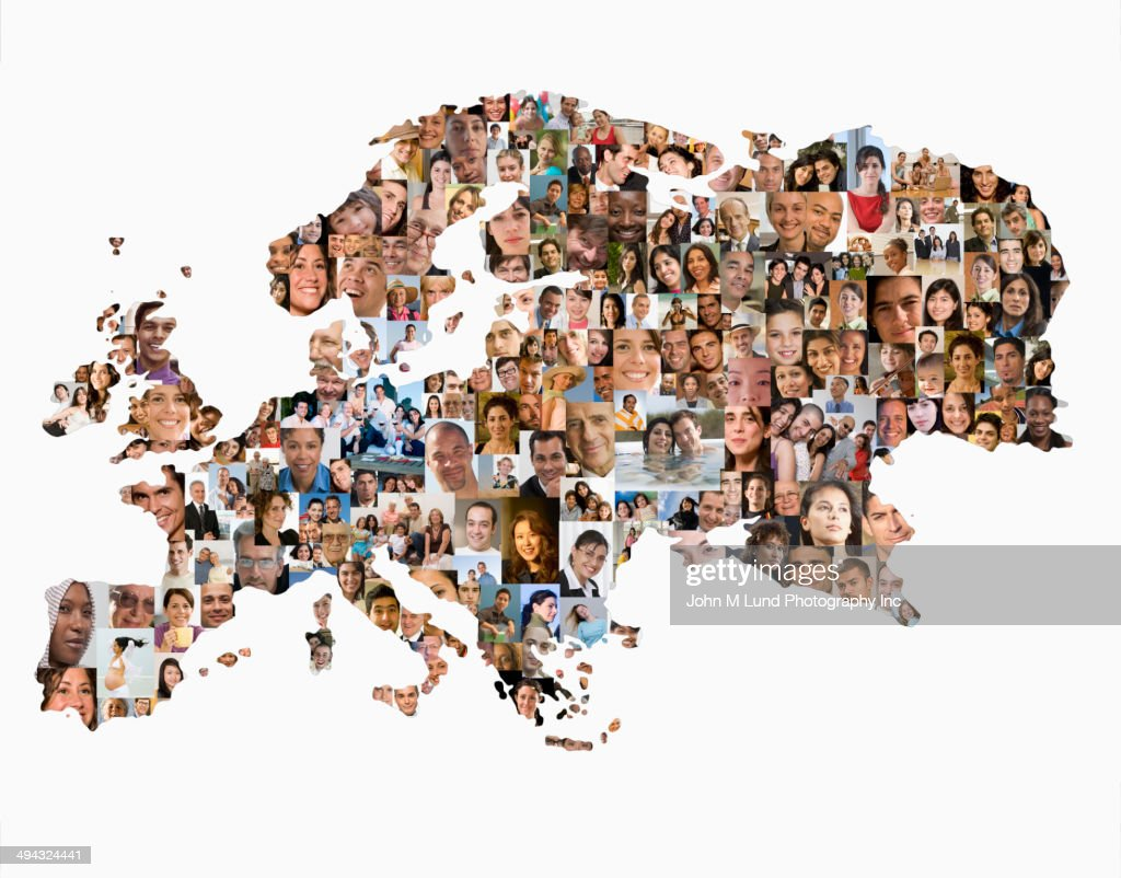 Collage of business people in shape of world map