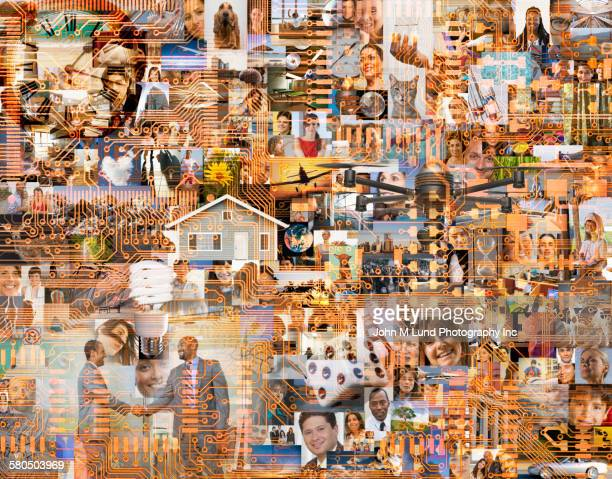 Collage of business people networking