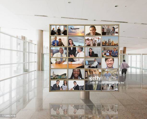 Collage of business people on screen