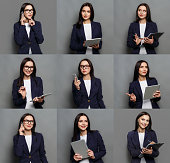 Set of different emotions of business woman in formal suit. Young female employee using gadgets and grimacing on camera. Happy, smiling, playful and serious portraits