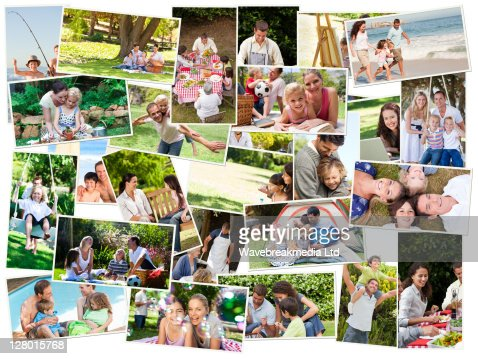 Collage of cute families having fun : Stock Photo