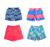 Collage of different shorts for boys of different colors