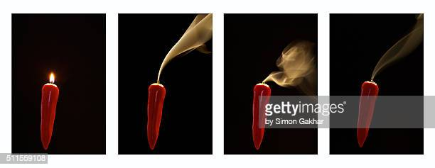 A Collage of Four Smoking Red Chillies