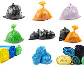 A set of colored garbage bags isolated on white background. Collage of garbage bags.'r'n