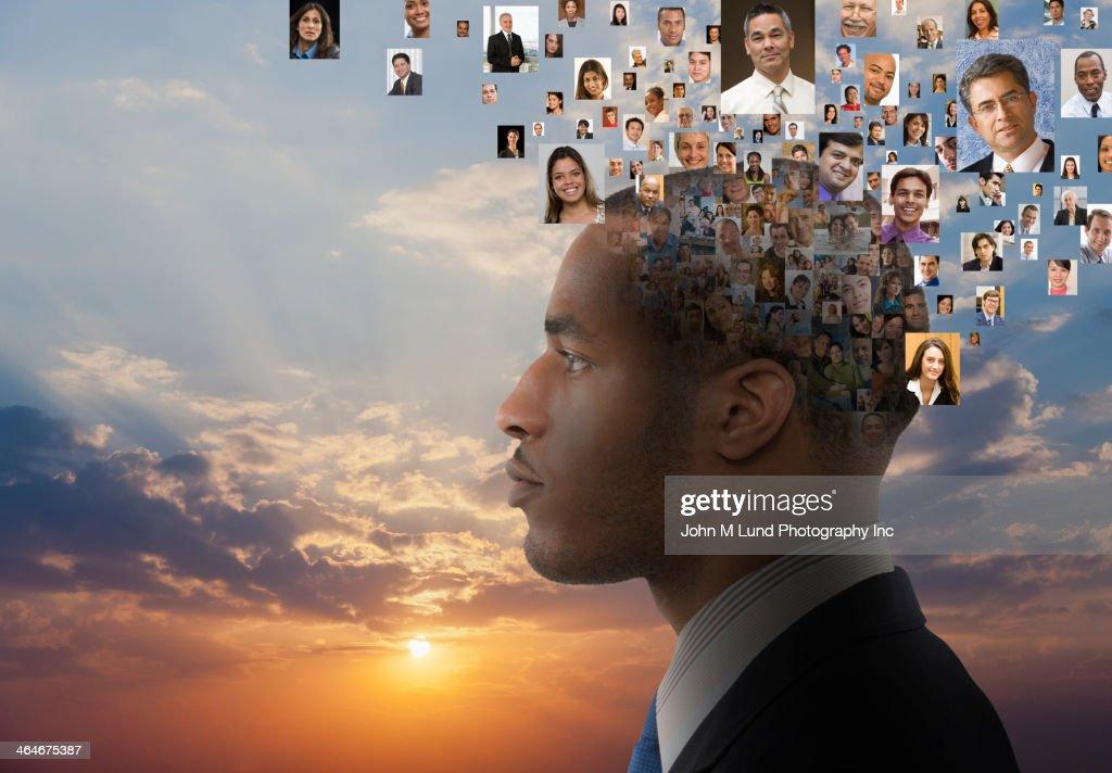 Collage of heads around businessman