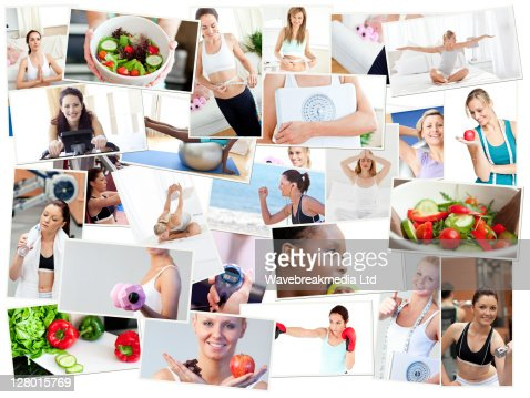Collage of photos illustrating healthy lifestyles : Foto stock