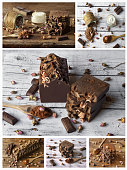 Collage of homemade chocolate spa with natural ingredients, face cream, soap and bath salts