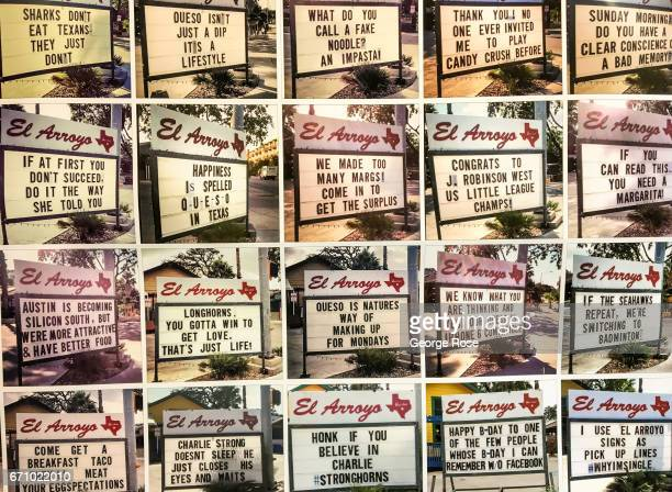 A collage of humorous El Arroyo restaurant signs is displayed at an advertisng agency on April 14 in Austin Texas Austin the State Capital of Texas...