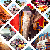 Collage of India images - travel background