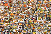 Collage of a large number of food from different countries of the world