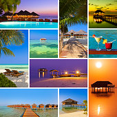 Collage of Maldives beach images (my photos) - nature and travel background (my photos)