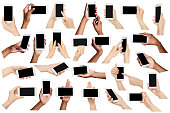 Set of diverse hands holding smartphone, isolated on white background, copy space