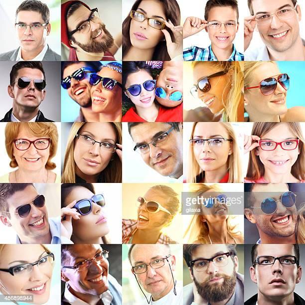Colagem de pessoas com óculos.