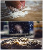 Collage of person sprinkling flour on dough