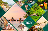 Collage of photos from beautiful Bali island in Indonesia, short story about vacation experience in Bali