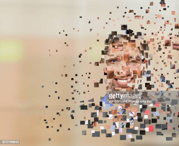 Collage of pixels forming human face
